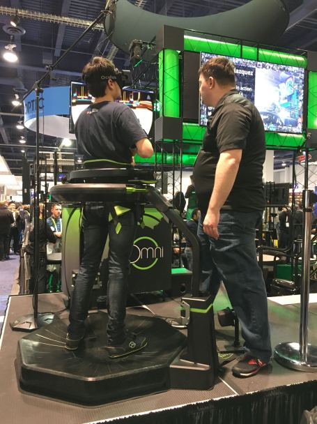 The Virtuix Omni not only lets you see a virtual reality world but it lets you walk through it and move around.