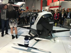 Ehang debuted a drone they claim can carry a human being - notably, there were no live demos :)